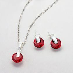Parure Design en Argent et Diamant CZ Rouge