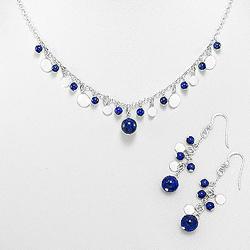 Parure Lapis Lazuli et Pampilles en Argent