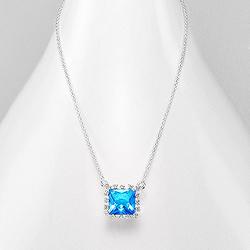 Collier Design Carré en Argent et DIamant CZ Bleu