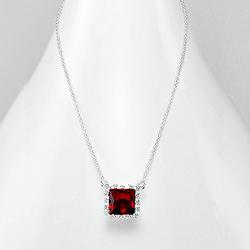 Collier Design Carré en Argent et DIamant CZ Rouge