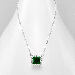 Collier Design Carré en Argent et DIamant CZ Vert