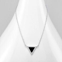 Collier Design Triangle Noir Serti de Diamant CZ Blanc