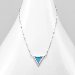 Collier Design Triangle Bleu Serti de Diamant CZ Blanc