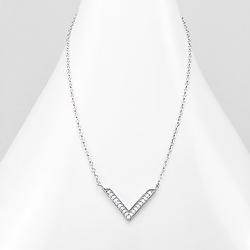 Collier Design V en Argent et Diamant CZ