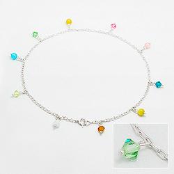 Bracelet de Cheville en Argent et Cristal Color�