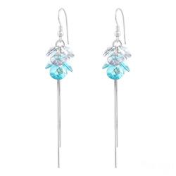 Boucles d'Oreilles Pompom Rivoli en Argent et Cristal Bleu Clair
