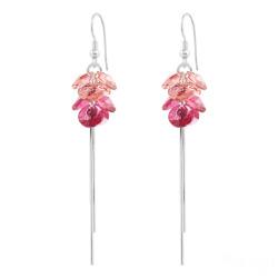 Boucles d'Oreilles Pompom Rivoli en Argent et Cristal Rose