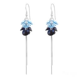 Boucles d'Oreilles Pompom Rivoli en Argent et Cristal Bleu