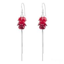 Boucles d'Oreilles Pompom Rivoli en Argent et Cristal Rouge