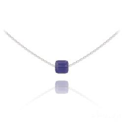 Collier Ras de Cou Cube 6mm en Argent et Cristal Violet Tanzanite