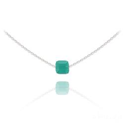 Collier Ras de Cou Cube 6mm en Argent et Cristal Light Turquoise