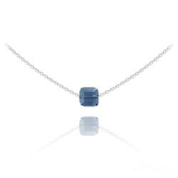 Collier Ras de Cou Cube 6mm en Argent et Cristal Denim Blue