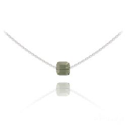 Collier Ras de Cou Cube 6mm en Argent et Cristal Black Diamond