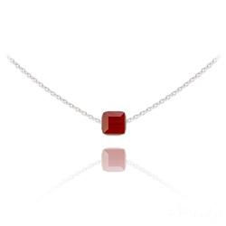 Collier Ras de Cou Cube 6mm en Argent et Cristal Rouge Siam