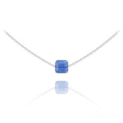 Collier Ras de Cou Cube 6mm en Argent et Cristal Bleu Saphir