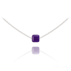 Collier Ras de Cou Cube 6mm en Argent et Cristal Purple Velvet