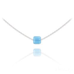 Collier Ras de Cou Cube 6mm en Argent et Cristal Bleu