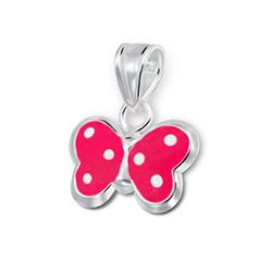 Pendentif pour Enfant Papillon en Argent Rose à Pois