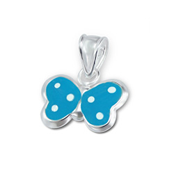 Pendentif pour Enfant Papillon en Argent Bleu à Pois