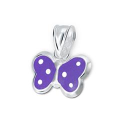 Pendentif pour Enfant Papillon en Argent Violet à Pois