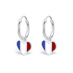 Boucles d'Oreilles Créoles 12mm Coeur Drapeau Français en Argent