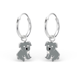Boucles d'Oreilles Créoles 12mm Koala en Argent