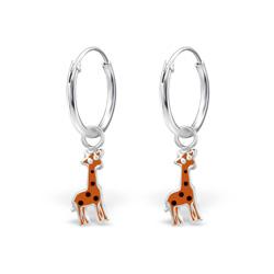 Boucles d'Oreilles Créoles 12mm Girafe en Argent