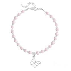 Bracelet Papillon en Argent et Perle de Cristal Nacrée Pastel Rose