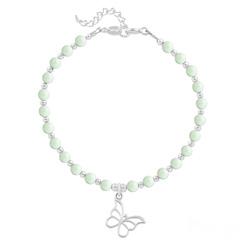 Bracelet Papillon en Argent et Perle de Cristal Nacrée Pastel Green