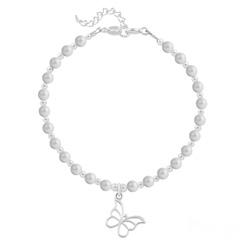 Bracelet Papillon en Argent et Perle de Cristal Nacrée Pastel Grey