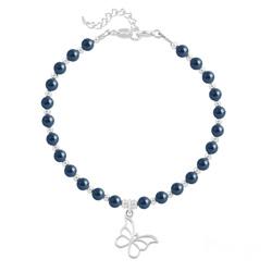 Bracelet Papillon en Argent et Perle de Cristal Nacrée Tahitian Look