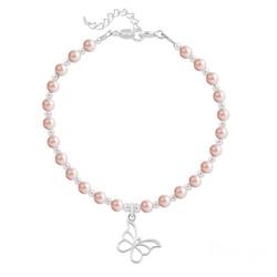 Bracelet Papillon en Argent et Perle de Cristal Nacrée Rose Peach