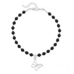 Bracelet Papillon en Argent et Perle de Cristal Nacrée Mystic Black