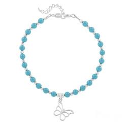 Bracelet Papillon en Argent et Perle de Cristal Nacrée Turquoise