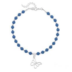Bracelet Papillon en Argent et Perle de Cristal Nacrée Lapis