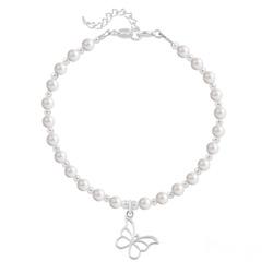 Bracelet Papillon en Argent et Perle de Cristal Nacrée White