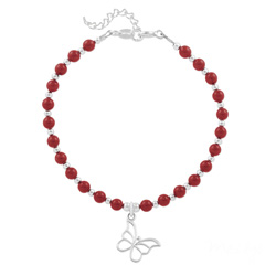 Bracelet Papillon en Argent et Perle de Cristal Nacrée Red Coral