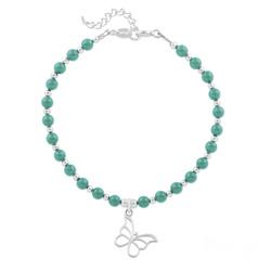 Bracelet Papillon en Argent et Perle de Cristal Nacrée Jade