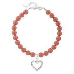 Bracelet Coeur en Argent et Perle de Cristal Nacrée Pink Coral