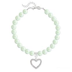 Bracelet Coeur en Argent et Perle de Cristal Nacrée Pastel Green