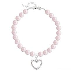 Bracelet Coeur en Argent et Perle de Cristal Nacrée Pastel Rose