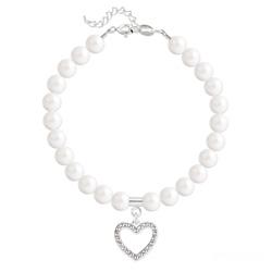 Bracelet Coeur en Argent et Perle de Cristal Nacrée Ivory