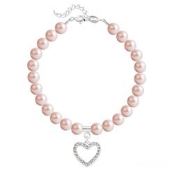 Bracelet Coeur en Argent et Perle de Cristal Nacrée Rose Peach