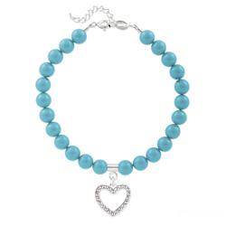 Bracelet Coeur en Argent et Perle de Cristal Nacrée Turquoise
