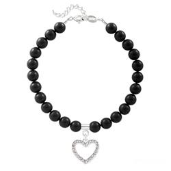 Bracelet Coeur en Argent et Perle de Cristal Nacrée Mystic Black