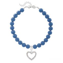 Bracelet Coeur en Argent et Perle de Cristal Nacrée Lapis