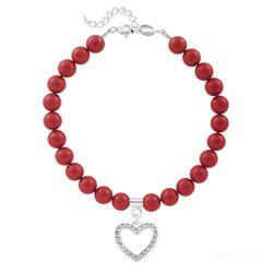 Bracelet Coeur en Argent et Perle de Cristal Nacrée Red Coral