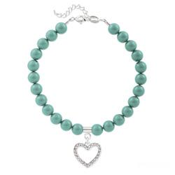 Bracelet Coeur en Argent et Perle de Cristal Nacrée Jade