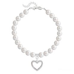 Bracelet Coeur en Argent et Perle de Cristal Nacrée White