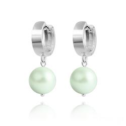 Boucles d'Oreilles en Argent Perle 10mm de Cristal Nacré Pastel Green